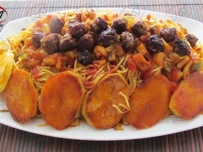 ماکارونی سبزیجات با قلقلی