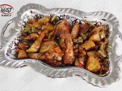 خوراک مرغ و لوبیا سبز