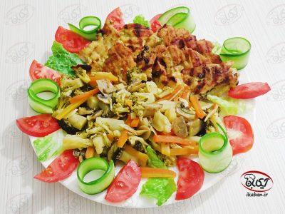 مرغ تابه ای و سبزیجات